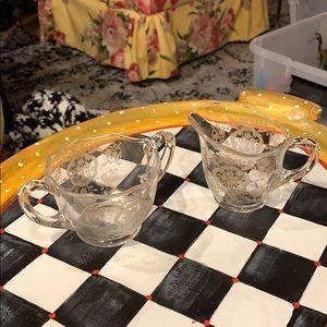 Ornate Gold Etched Filagree Cream Sugar Glass Set